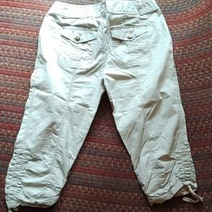 INC khaki cargo pants, great details, tie/gathers